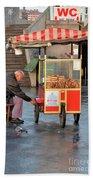 Pretzel Seller With Pushcart Istanbul Turkey Beach Towel
