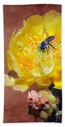 Prickly Pear And Bee Beach Towel