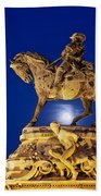 Prince Eugene Of Savoy Statue At Night Beach Towel