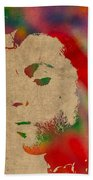 Prince Watercolor Portrait On Worn Distressed Canvas Beach Towel