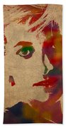 Princess Diana Watercolor Portrait On Worn Distressed Canvas Beach Towel by Design Turnpike