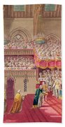 Procession Of The Dean And Prebendaries Of Westminster Bearing The Regalia, From An Album Beach Towel