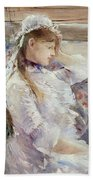 Profile Of A Seated Young Woman Beach Towel by Berthe Morisot