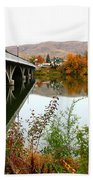 Prosser Bridge And Fall Colors On The River Beach Towel