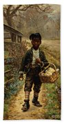 Protecting The Groceries Beach Towel by Edward Lamson Henry