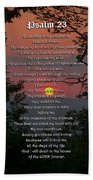 Psalm 23 Prayer Over Sunset Landscape Beach Towel by Christina Rollo