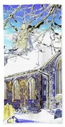 Psychedelic English Village Church In Winter Beach Towel