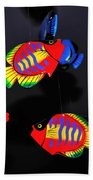 Psychedelic Flying Fish Beach Towel by Kaye Menner