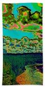 Psychedelic Skyline Over Spokane River #2 Beach Towel