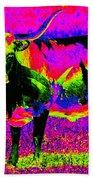 Psychedelic Texas Longhorn Beach Towel