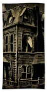 Psycho Mansion Beach Towel by John Malone