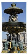 Public Fountain At The Place De La Concorde In Paris France Beach Towel