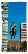 Public Statue Of General Artigas In Montevideo Beach Towel