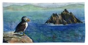 Puffin At Skellig Island Ireland Beach Towel