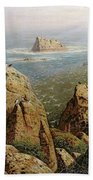 Puffins On Lundy Island Oil On Canvas Beach Towel