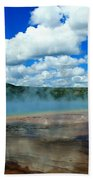 Puffy Clouds And Hot Springs Beach Towel