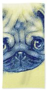 Pug Puppy Pastel Sketch Beach Towel