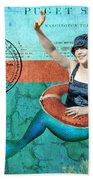 Puget Sound Mermaid  Beach Towel