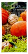 Pumpkin Harvest Beach Towel by Karen Wiles