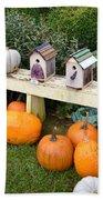Pumpkins And Birdhouses Beach Towel