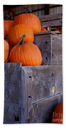 Pumpkins On The Wagon Beach Towel by Kerri Mortenson