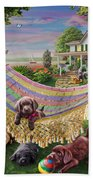 Puppies And Butterflies Beach Towel