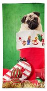 Puppy For Christmas Beach Towel