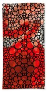 Pure Passion 2 - Stone Rock'd Red And Black Art Painting Beach Towel by Sharon Cummings