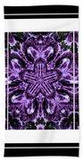 Purple Abstract Flower Garden - Kaleidoscope - Triptych Beach Towel