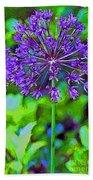 Purple Allium Flower Beach Towel