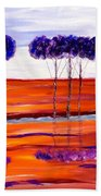 Purple And Blue Trees Abstract Beach Towel