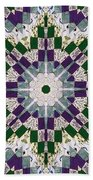 Purple And Green Patchwork Art Beach Towel