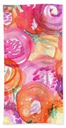 Purple And Orange Flowers Beach Towel