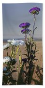 Purple And White Flowers In The Sun Beach Towel