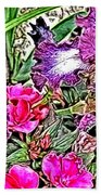 Purple And White Irises And Pink Flowers Beach Towel