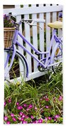 Purple Bicycle And Flowers Beach Towel