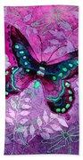 Purple Butterfly Beach Towel