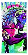 Purple Carousel Horse Beach Towel