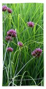 Purple Flowers And Grasses Beach Towel