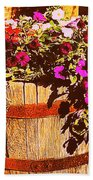 Purple Flowers In Rusty Bucket Beach Towel