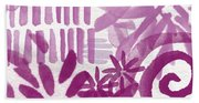 Purple Garden - Contemporary Abstract Watercolor Painting Beach Towel