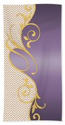 Purple Gold Chevron Beach Towel