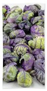 Purple Green Brussels Sprouts Beach Towel