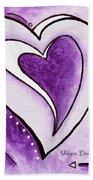 Purple Heart Love Painting Pop Art Blessed By Megan Duncanson Beach Towel by Megan Duncanson