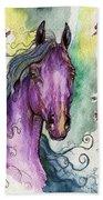 Purple Horse Beach Towel