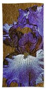 Purple Iris Gold Leaf Beach Towel