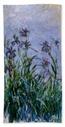 Purple Irises Beach Towel