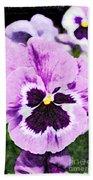 Purple Pansy Close Up - Digital Paint Beach Towel