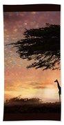 Purple Safari Sunset Beach Towel