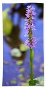 Purple Swamp Flower Beach Towel